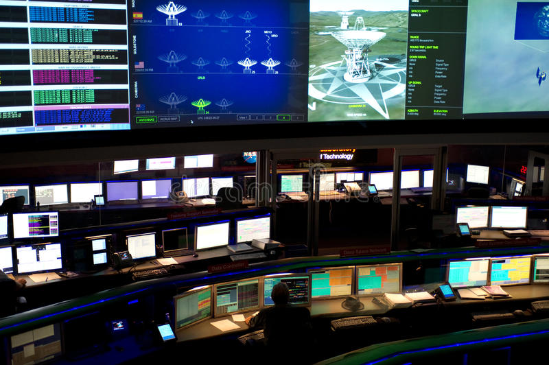 Mission control at Jet Propulsion Lab. LA CANADA FLINTRIDGE, CA - AUGUST 13: The NASA Mars Science Laboratory, named Curiosity, is controlled by the Space Flight