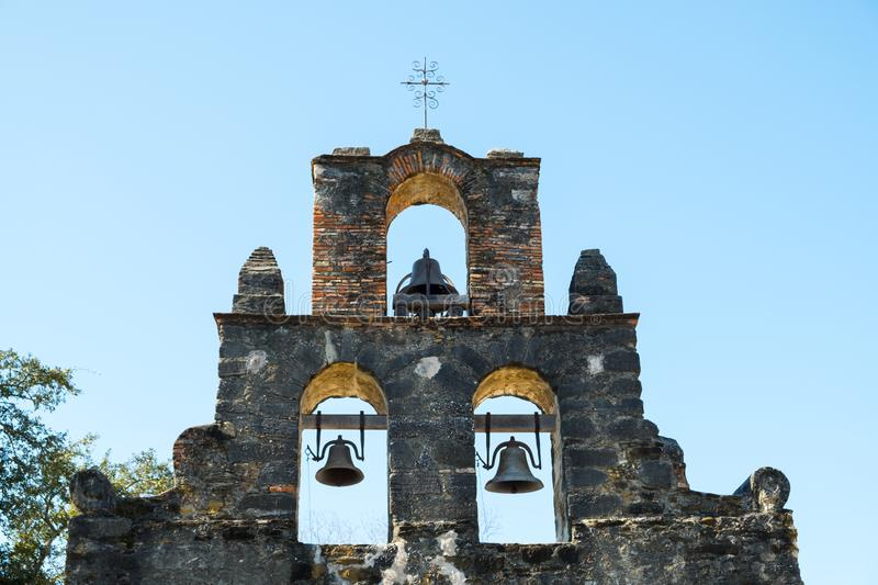 Mission Espada in San Antonio Missions National Historic Park, Texas on a bright sunny day.  royalty free stock photography