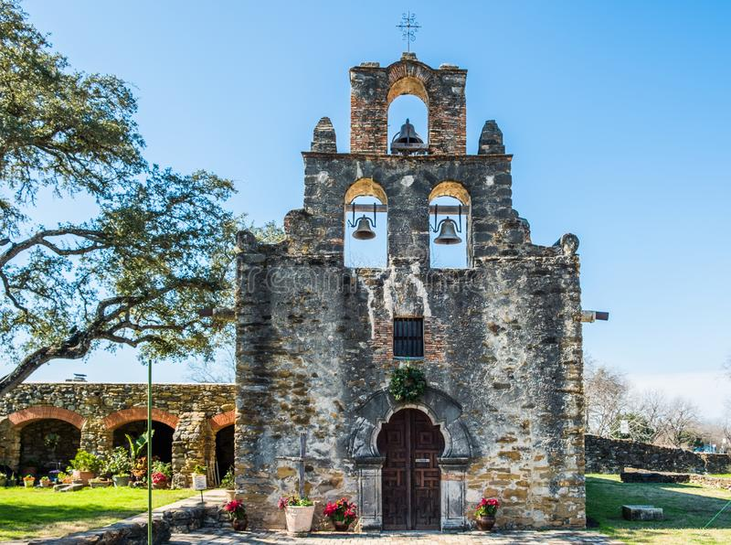 Mission Espada in San Antonio Missions National Historic Park, Texas on a bright sunny day stock images