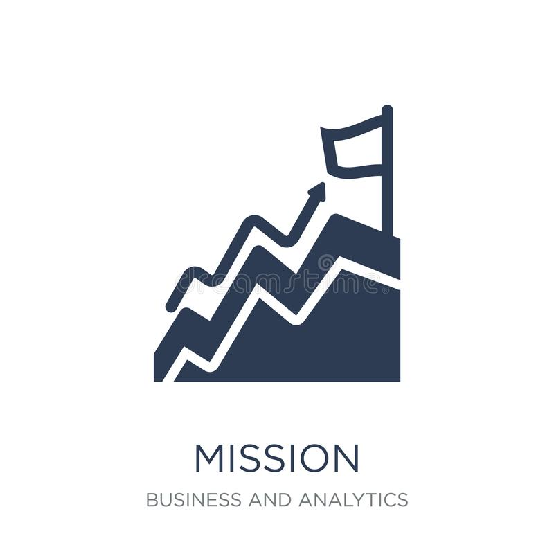 Mission icon. Trendy flat vector Mission icon on white background from Business and analytics collection. Vector illustration can be use for web and mobile vector illustration