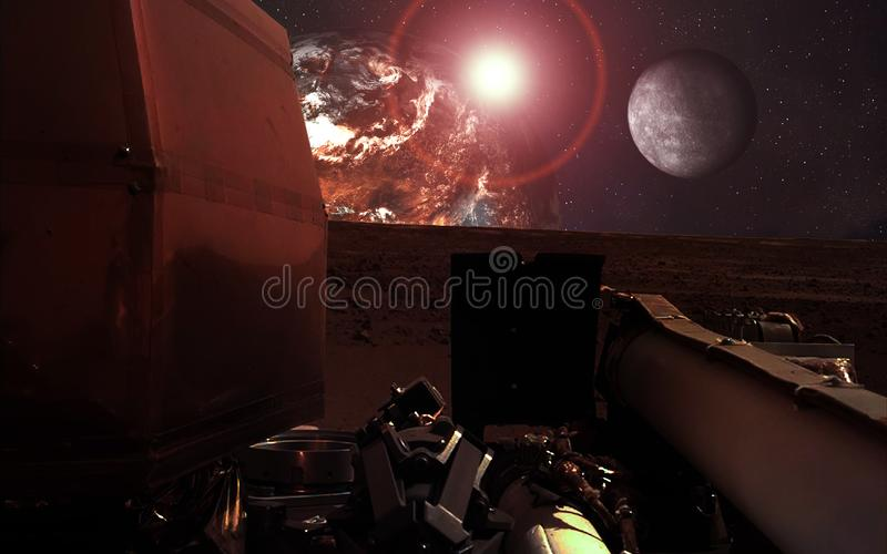 Mission InSight Mars Lander near the red planet and moon with lens flare. Elements of this image were furnished by NASA. Mission InSight Mars Lander in shadow royalty free stock photo