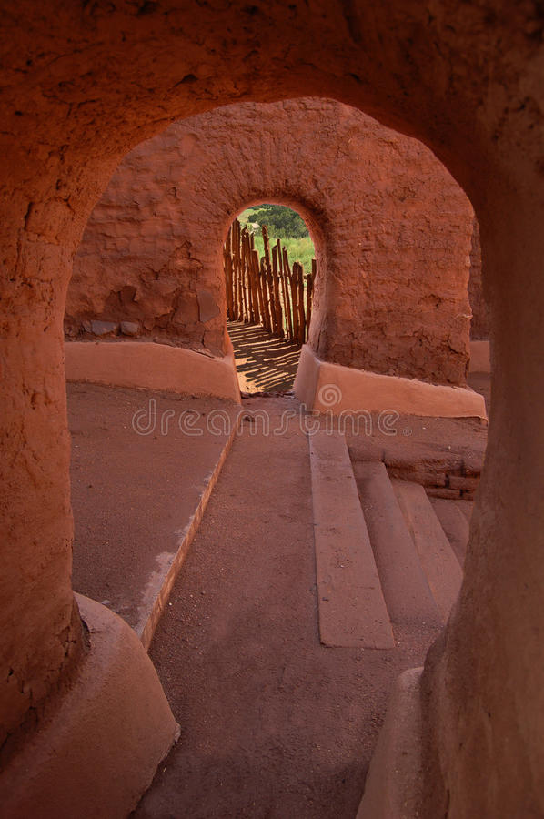 Mission at Pecos National Monument. Archways within the ruins of mission church at Pecos National Monument located in New Mexico stock images