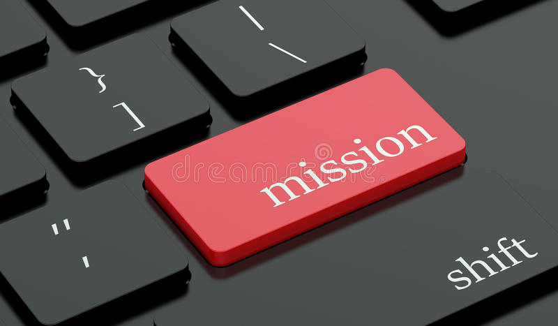 Mission red hot key on keyboard. Mission concept, red hot key on keyboard stock illustration