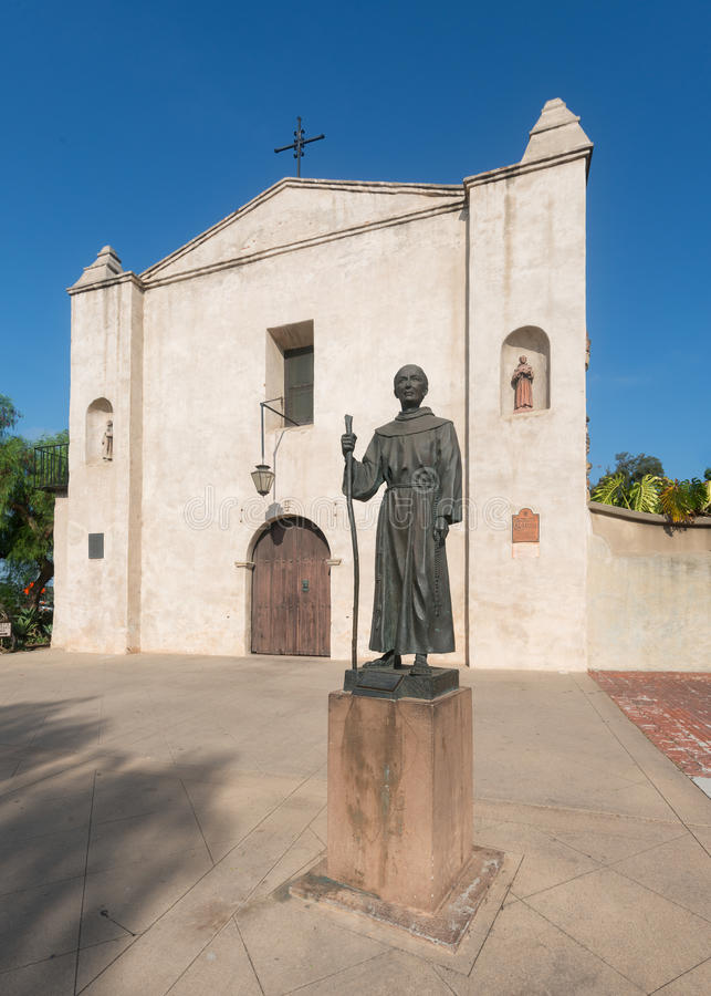 Mission San Gabriel Arcangel. Statue of Saint Junipero Serra in front of the church at Mission San Gabriel on Mission Drive in San Gabriel, California stock photo