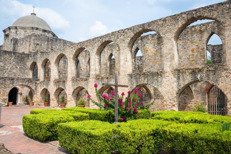 Mission San Jose San Antonio Texas. Exterior Spanish Mission San Jose church and convent with courtyard in San Antonio, Texas stock images