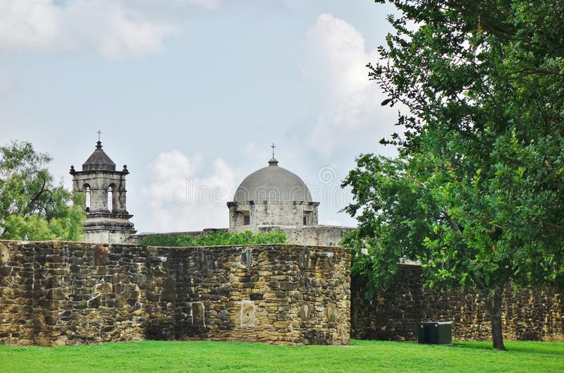 The Mission San Jose y San Miguel de Aguayo in San Antonio, Texas. SAN ANTONIO, TX - Founded in 1720, the Catholic Mission San Jose y San Miguel de Aguayo is stock photos