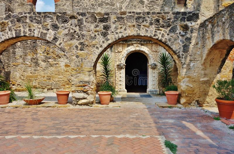 The Mission San Jose y San Miguel de Aguayo in San Antonio, Texas. SAN ANTONIO, TX - Founded in 1720, the Catholic Mission San Jose y San Miguel de Aguayo is royalty free stock photography