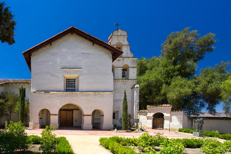 Mission San Juan Bautista. SAN JUAN BAUTISTA, CA/USA - July 14: Historic Mission San Juan Bautista is a Spanish mission founded in 1797 by the Franciscan order royalty free stock photography