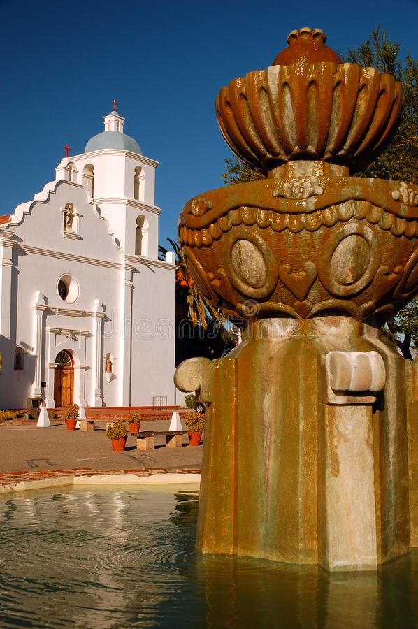 Mission San Luis Rey de Francia in Oceanside, California. A fountain stands in front of the Mission San Luis Rey de Francia in Oceanside, California stock photo