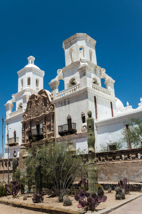 Mission San Xavier del Bac. The Spanish colonial Mission San Xavier del Bac has been preverved by the Tohon O'odham tribe and restored to its original grandeur royalty free stock photo