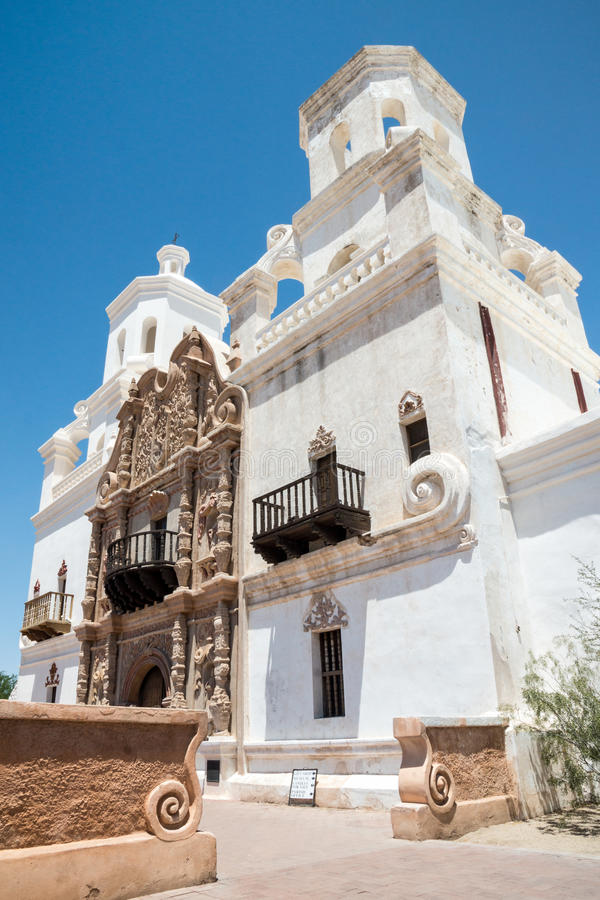 Mission San Xavier del Bac. The Spanish colonial Mission San Xavier del Bac has been preverved by the Tohon O'odham tribe and restored to its original grandeur stock photos