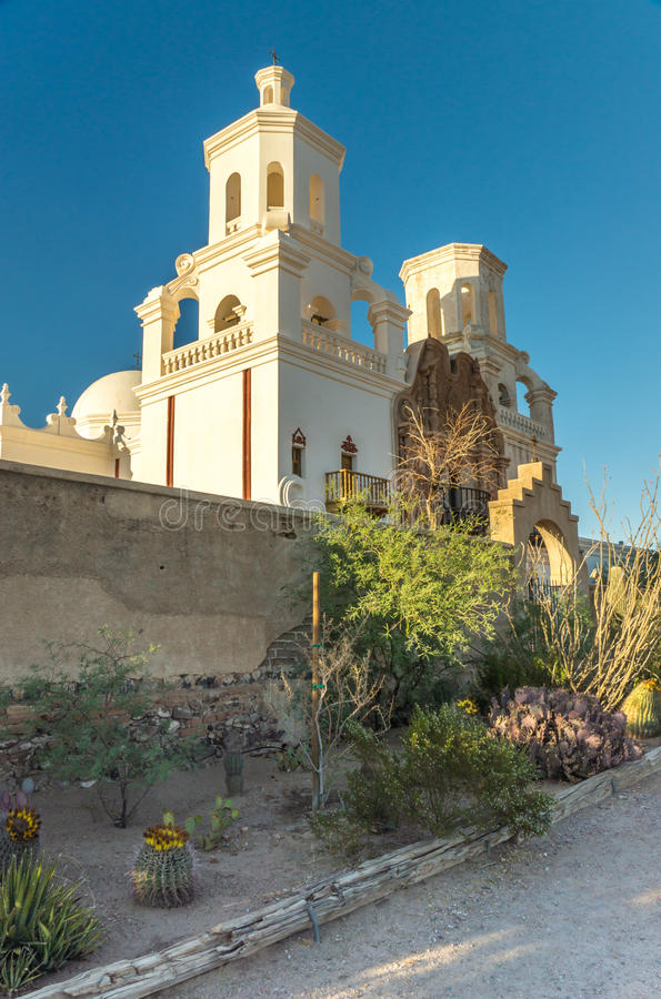 Mission San Xavier del Bac. The Spanish colonial Mission San Xavier del Bac has been preverved by the Tohon O'odham tribe and restored to its original grandeur stock photography