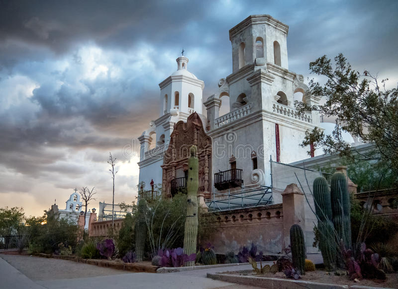 Mission San Xavier del Bac. Spanish mission in Tucson, Arizona royalty free stock photos