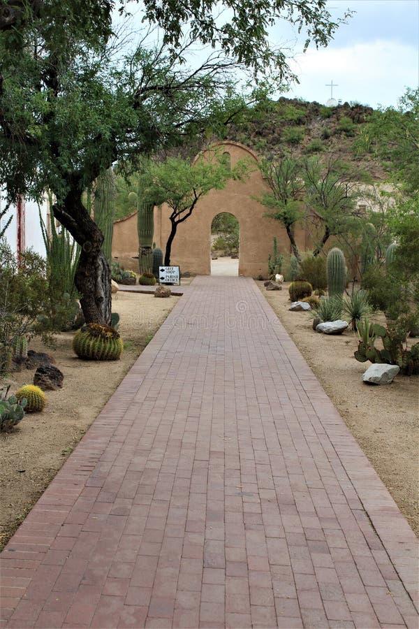 Mission San Xavier del Bac, Tucson, Arizona, United States. Scenic view of Mission San Xavier del Bac, located in Tucson, Arizona, United States stock image