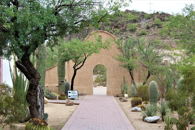 Mission San Xavier del Bac, Tucson, Arizona, Verenigde Staten stock foto