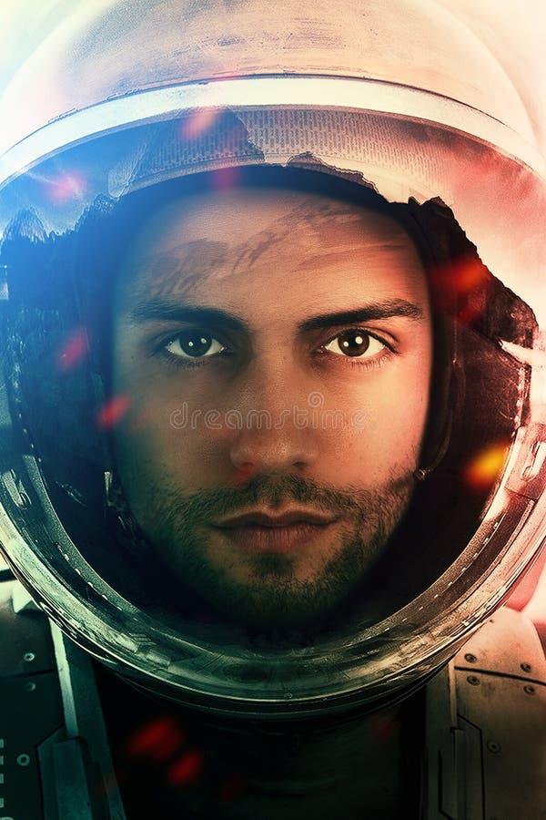 Mission spatiale Portrait de plan rapproché d'un astronaute image stock