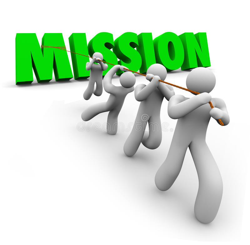 Mission Team Pulling Together Achieve Goal Objective Task. Mission word pulled up by a team of workers striving together to achieve a common goal, objective, job stock illustration