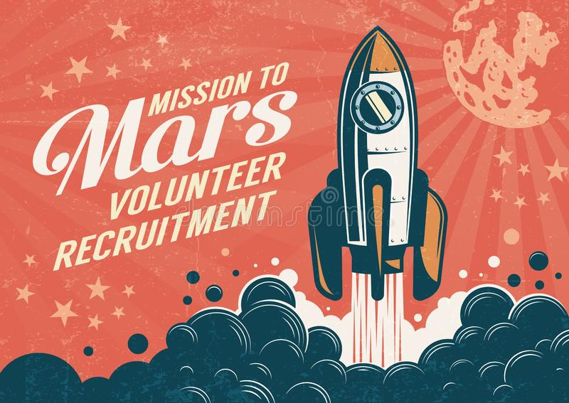 Mission to Mars - poster in retro vintage style vector illustration