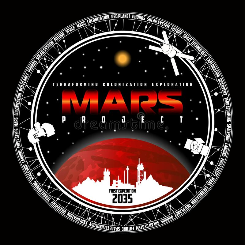 Mission to mars vector logo. stock photo