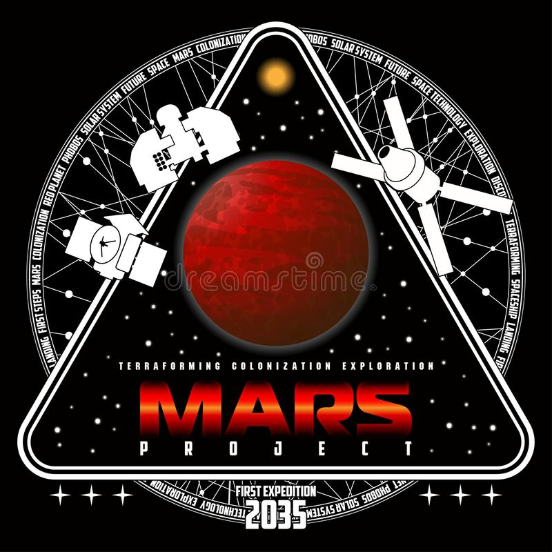 Mission to mars vector logo. royalty free stock photos