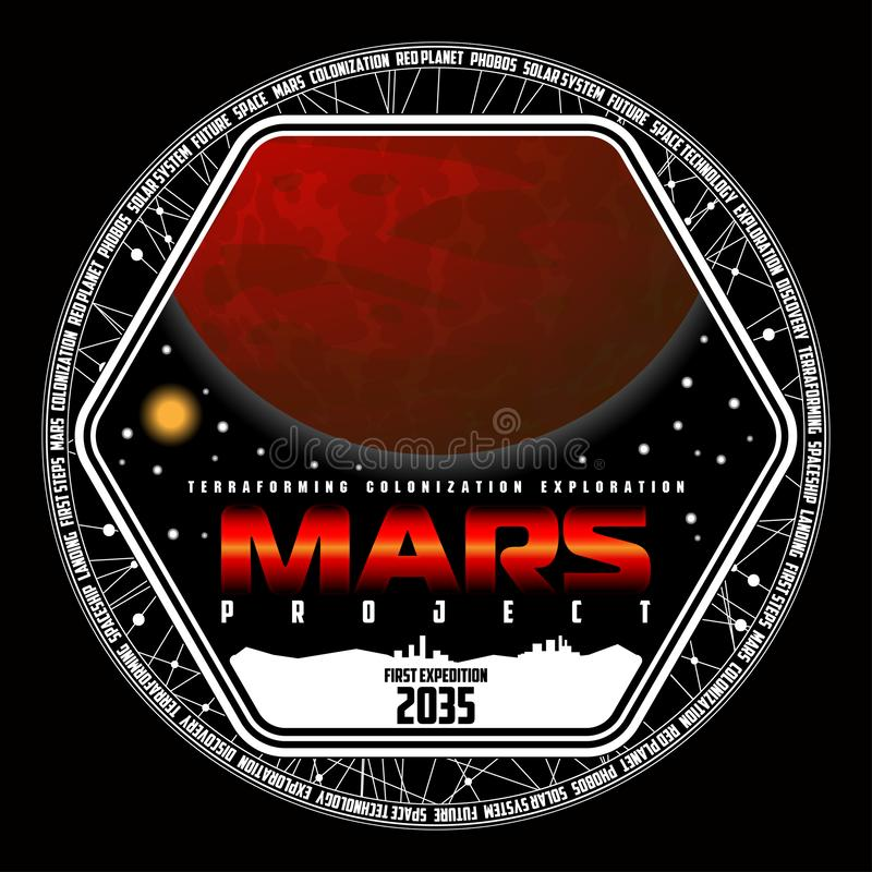 Mission to mars vector logo. royalty free stock image