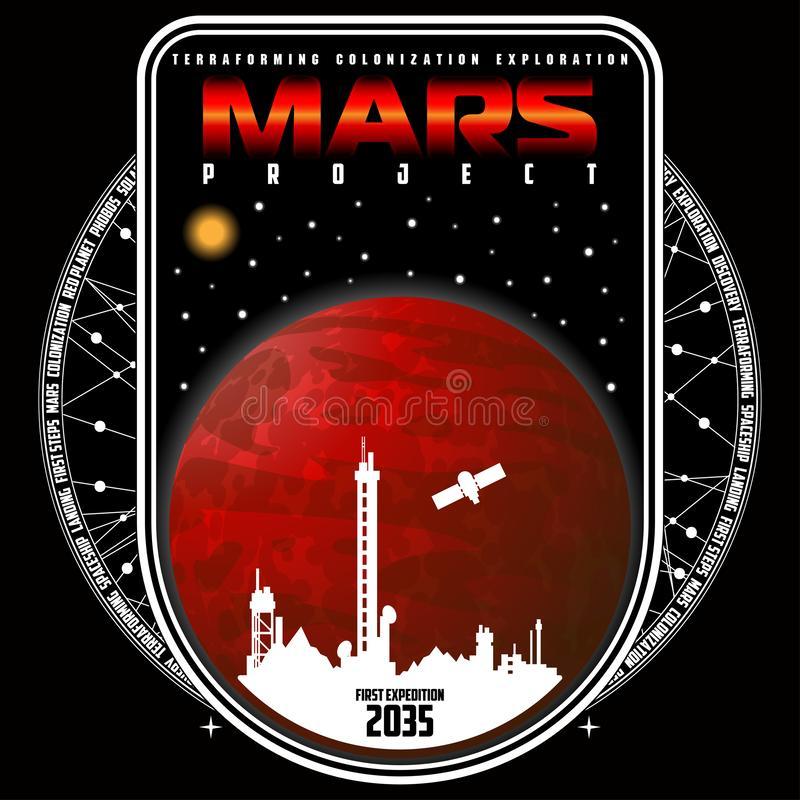Mission to mars vector logo. stock image