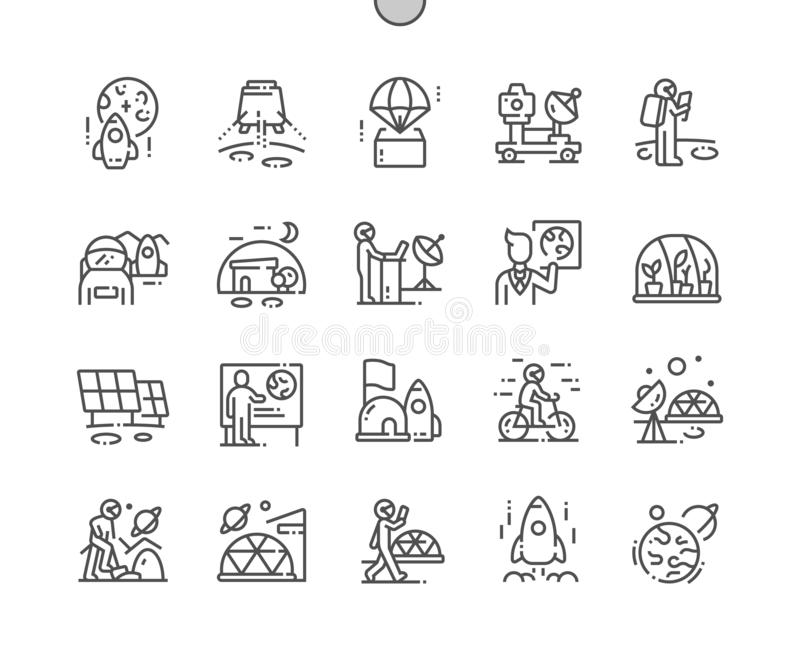 Mission to mars Well-crafted Thin Line Icons stock illustration