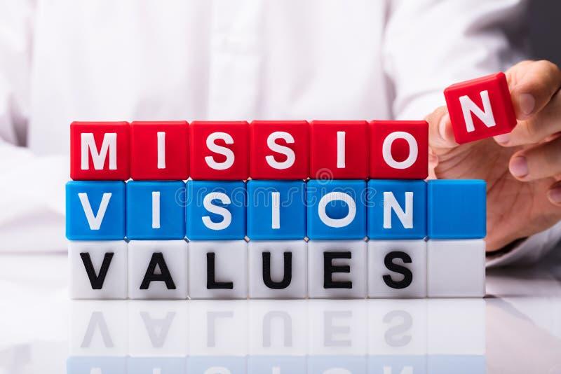Mission, visibilit? et valeurs image libre de droits