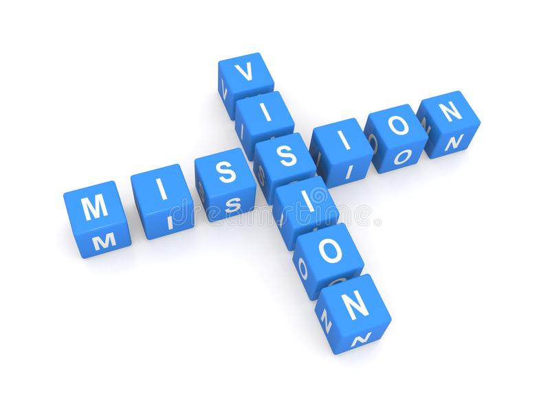 Mission and vision. In white upper case text on blue cubes