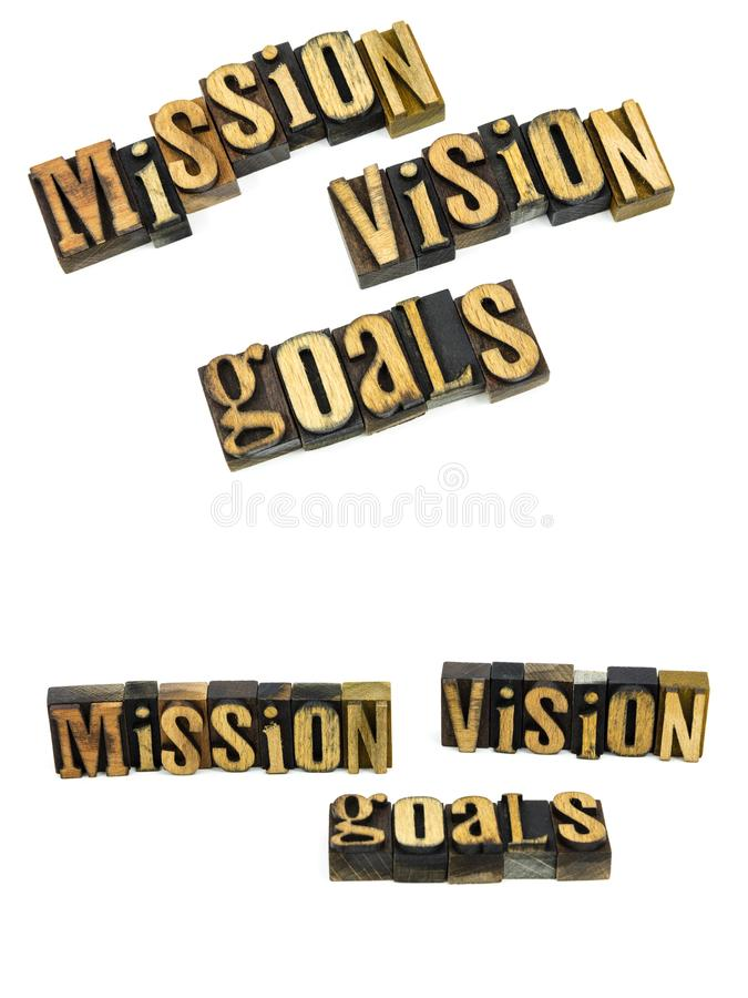 Mission vision goals letterpress stock image
