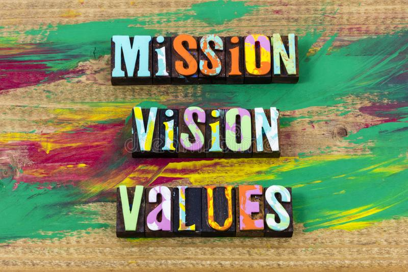 Mission vision values believe business integrity  trust letterpress quote royalty free stock photos