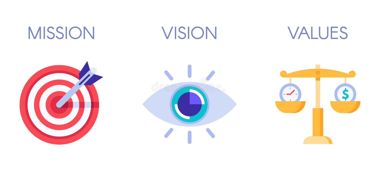 Mission, vision and values. Business strategy icons, company value and success rules flat vector illustration stock illustration