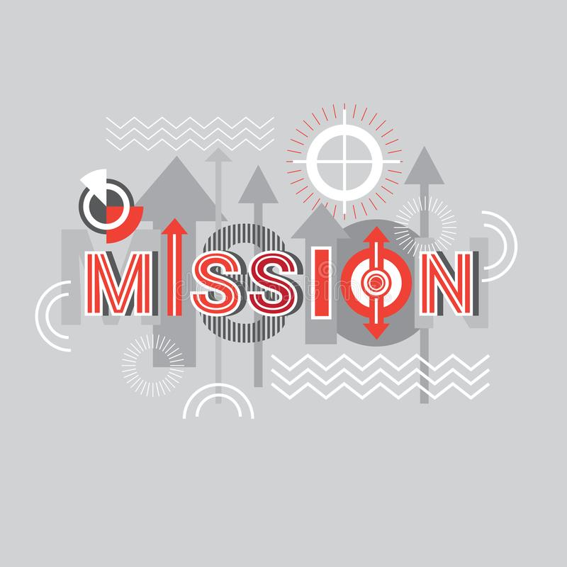 Mission Word Creative Graphic Design Modern Business Concept Over Abstract Geometric Shapes Background. Vector Illustration stock illustration