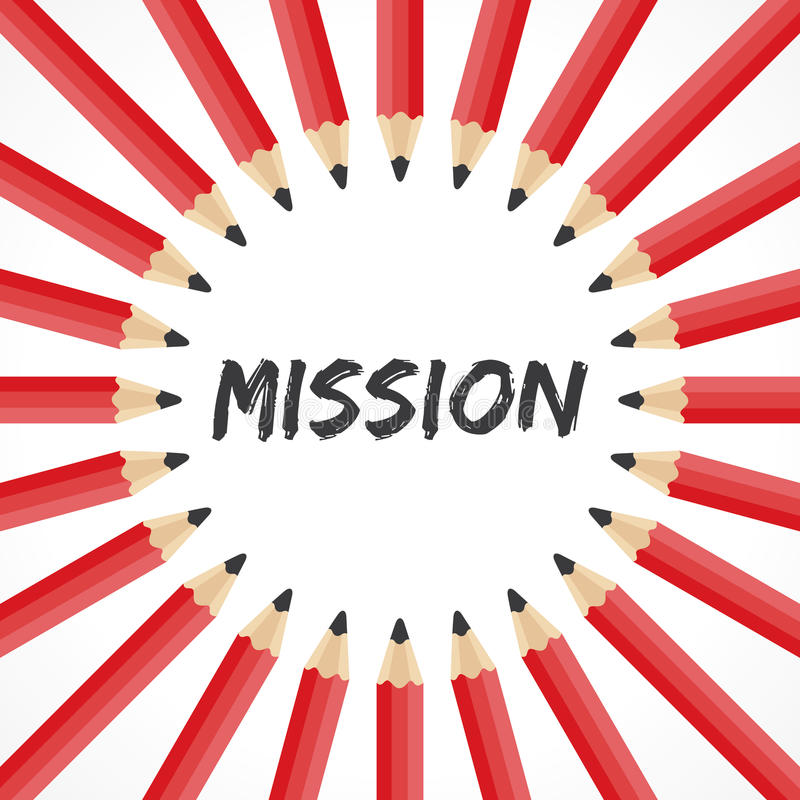Mission word with pencil background royalty free illustration