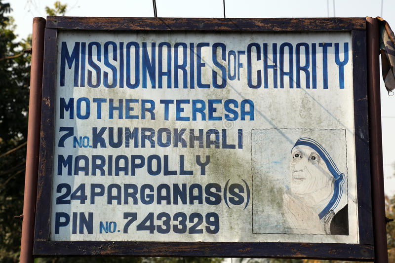 Missionaries of Charity in Kumrokhali, West Bengal, India. The inscription at the entrance in one of the houses established by Mother Teresa and run by the stock images