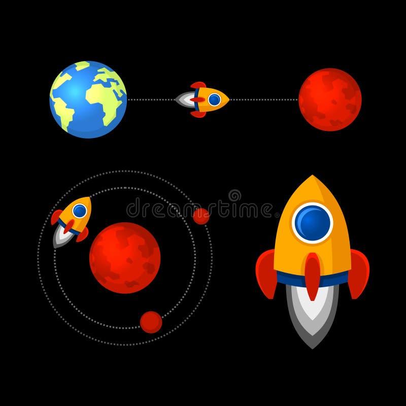 Missione alle icone di Marte messe Vettore royalty illustrazione gratis