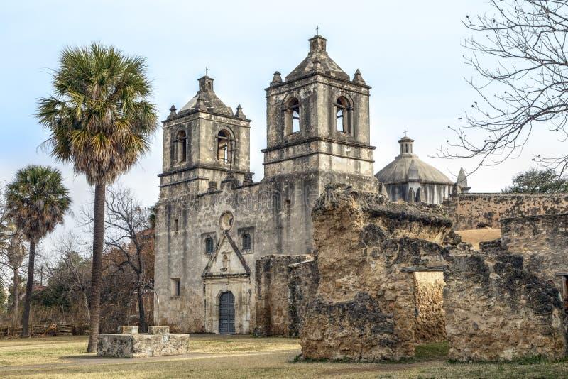 Missione Concepción - San Antonio, il Texas fotografia stock libera da diritti