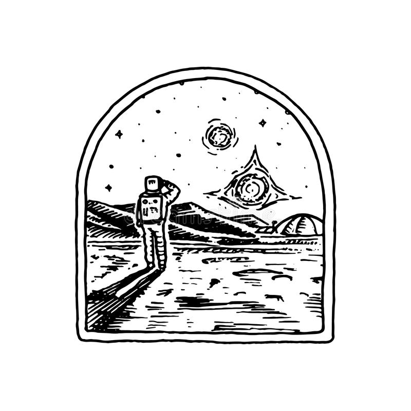 Missione del logo di Marte Esplorazione della galassia e dello spazio astronomici Avventura per l'astronauta dell'astronauta Pian illustrazione di stock