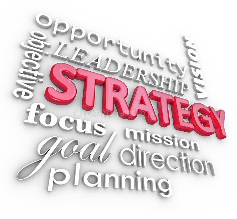 Missione di scopo di pianificazione del collage di parola di strategia illustrazione di stock