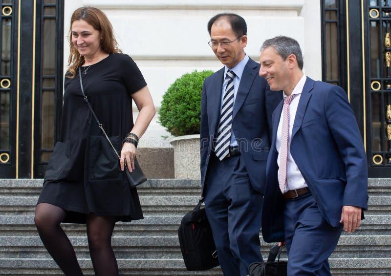 Missione per la Romania - conferenza stampa del Fondo monetario internazionale fotografie stock libere da diritti