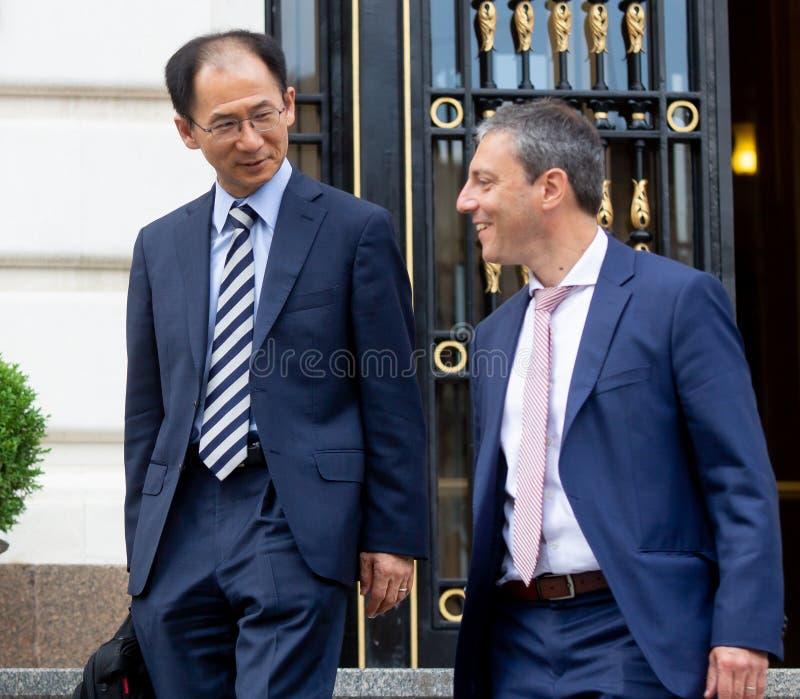 Missione per la Romania - conferenza stampa del Fondo monetario internazionale immagine stock libera da diritti