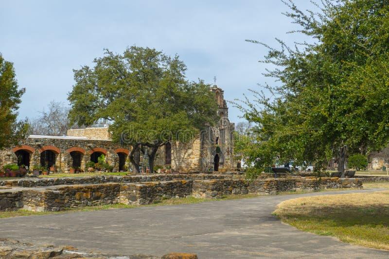 Missione San Francisco de la Espada, San Antonio, il Texas, U.S.A. immagine stock libera da diritti