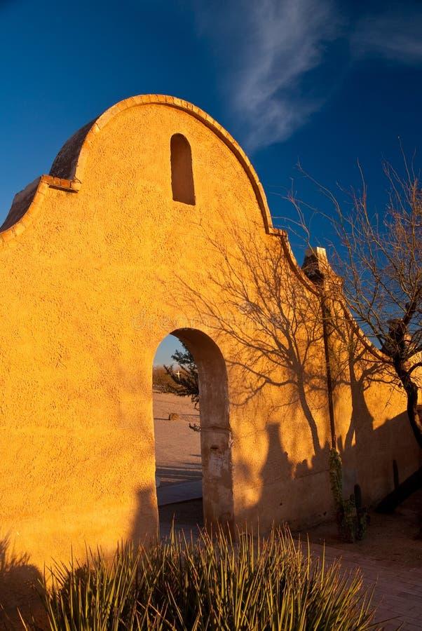 Missione San Xavier al tramonto immagini stock libere da diritti