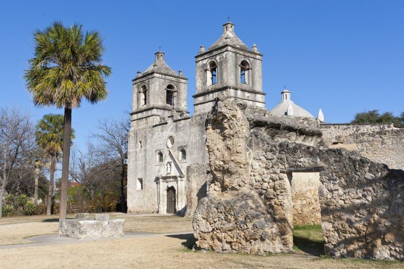 Missione storica Concepción a San Antonio, il Texas fotografia stock libera da diritti
