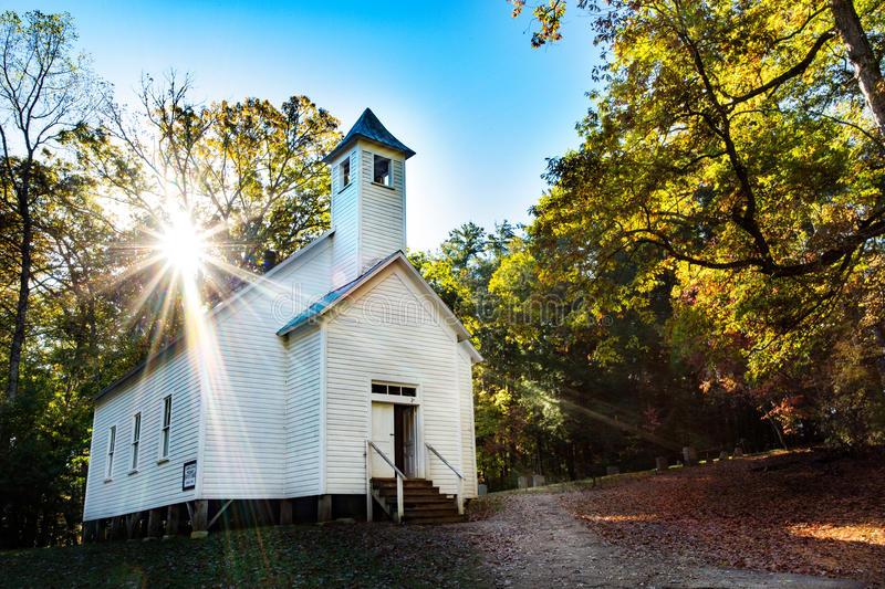 Missions-Baptist Church Cades Cove Smoky-Berge bei Sonnenaufgang stockfoto