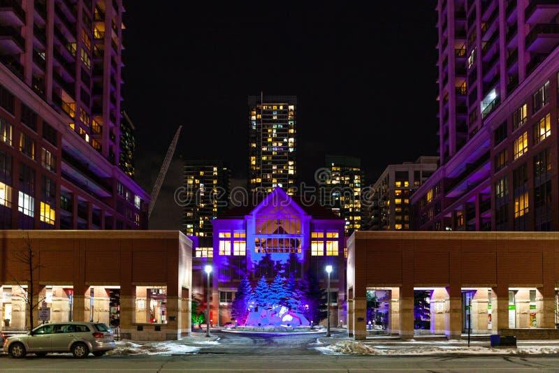 Mississauga, Kanada, am 14. Februar 2019: Das Quadrat eins während des Winters, Mitte des Mississauga-Stadtteils größeren Toronto lizenzfreies stockfoto