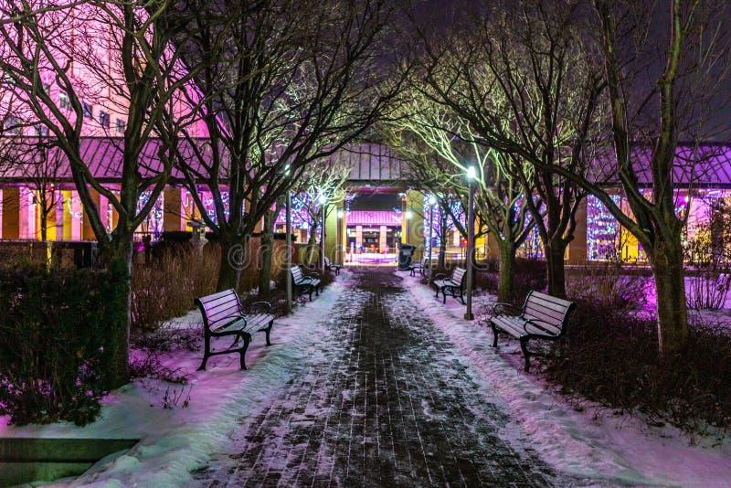 Mississauga, Kanada, am 14. Februar 2019: Park am Quadrat eins während des Winters, Mitte von Mississauga-Stadt lizenzfreie stockfotografie