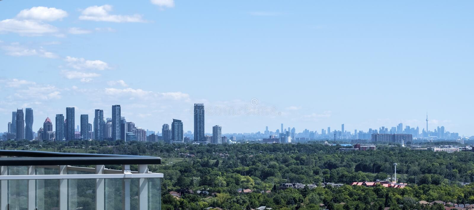 Mississauga and Toronto Skylines Seen from a High Rise royalty free stock photo