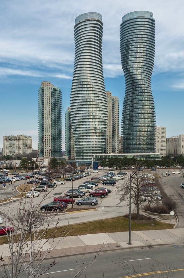 Mississauga-Twin Tower stockbilder