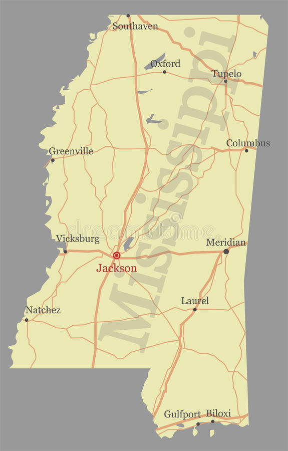 Mississippi accurate vector exact detailed State Map with Community Assistance and Activates Icons Original pastel Illustration. United States of America vector illustration